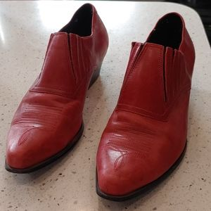 """Durango Red Leather Ankle Boots, 1"""" Heel, Size 8.5"""